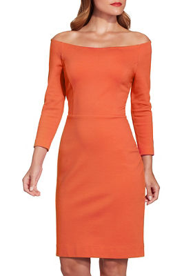 Off-the-shoulder three-quarter sleeve sheath dress