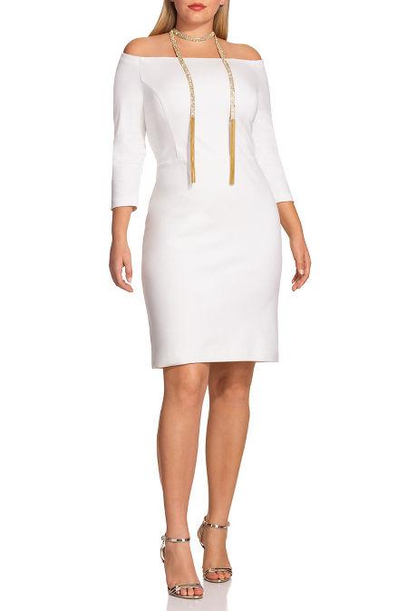 Off-the-shoulder three-quarter sleeve sheath dress image