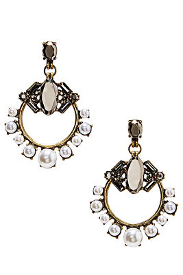 stone pearl drop earrings