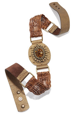 Stone raffia leather belt
