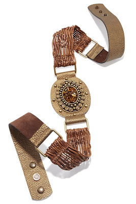 Stone raffia leather belt