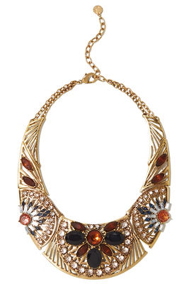 jewel stone bib necklace