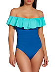 Off The Shoulder Ruffle Colorblock One Piece Suit Photo
