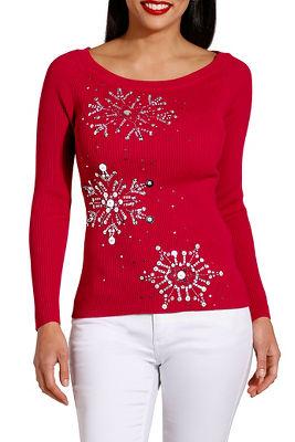 Winter sky boat neck sweater