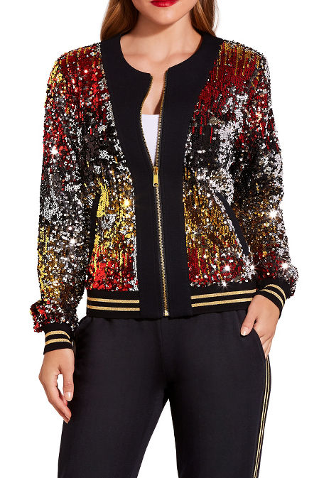 Allover sequin bomber jacket image