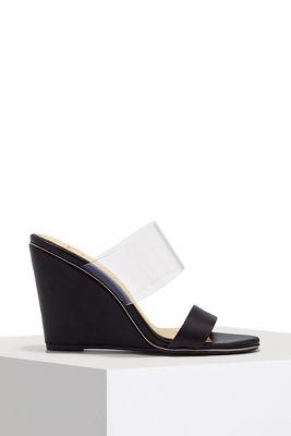 Double strap vinyl wedge heel