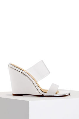 Double strap vinyl wedge heel