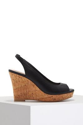 Peep toe slingback wedge heel