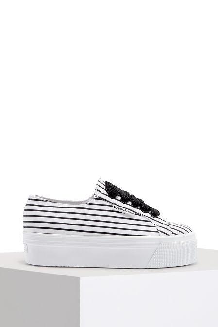 Striped platform sneaker image