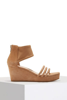Triple strap mesh wedge heel