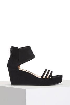 triple strap mesh wedge heel