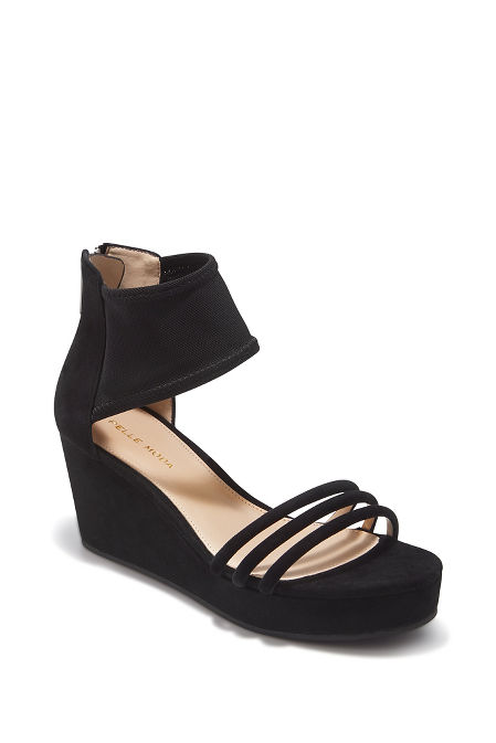Triple strap mesh wedge heel image