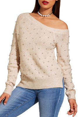 Asymmetric Pearl Embellished Sweater