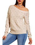 Asymmetric Pearl Embellished Sweater Photo