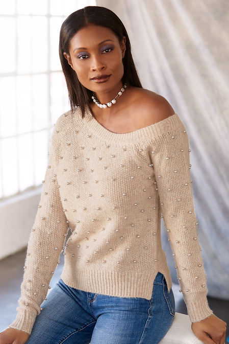 Asymmetric pearl embellished sweater image