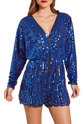 Beaded blouson romper
