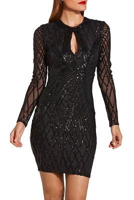Beaded Keyhole Illusion Dress