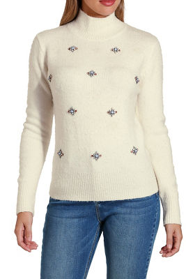 Beaded mock neck sweater