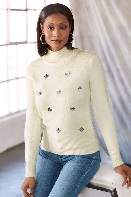 Beaded mock neck sweater image
