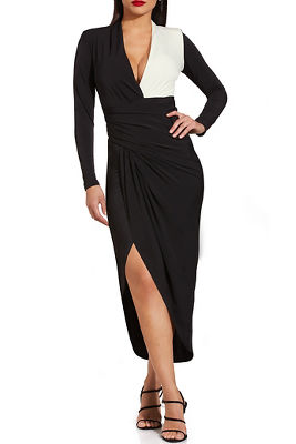 Colorblock long sleeve ruched dress