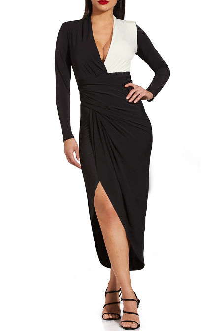 Colorblock long sleeve ruched dress image