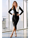 Colorblock Long Sleeve Ruched Dress Photo