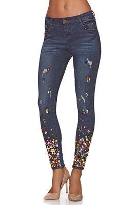 colorful gem skinny jean
