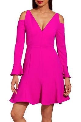 Cold shoulder flare sleeve dress