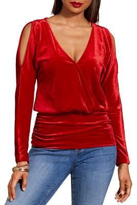 Cold shoulder surplice ruched velvet top