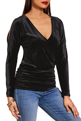 Cold shoulder surplice ruched velvet top