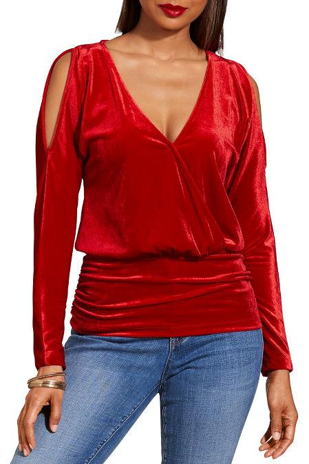 Cold shoulder surplice ruched velvet top image