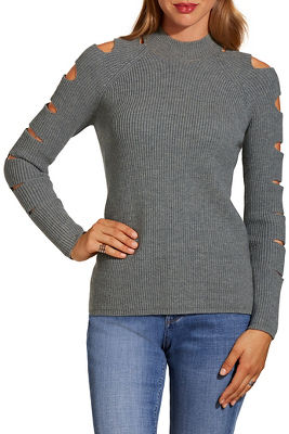 Cutout sleeve mock-neck sweater