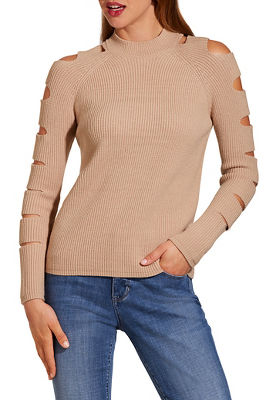Cutout sleeve mock-neck sweater