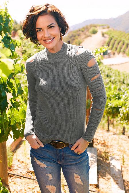 Cutout sleeve mock-neck sweater image