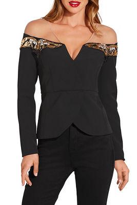 Embellished illusion blazer