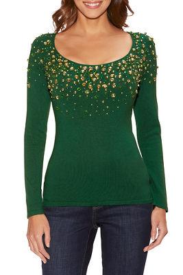 Embellished neckline scoop neck sweater