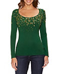 Embellished Neckline Scoop Neck Sweater Photo