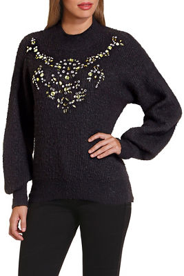 embellished puff sleeve mock neck sweater