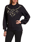 Embellished Puff Sleeve Mock Neck Sweater Photo