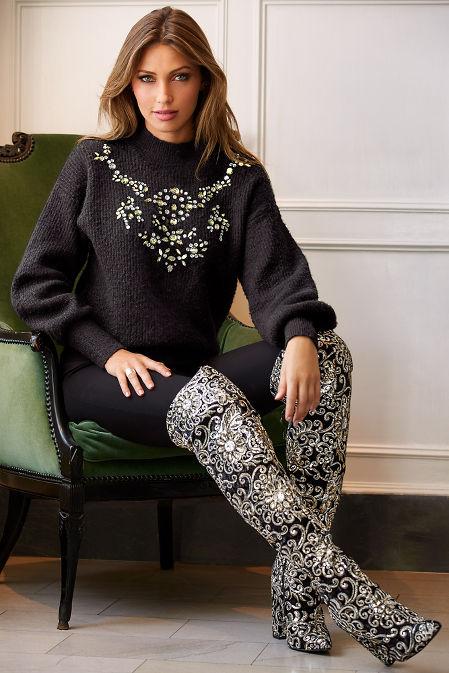Embellished puff sleeve mock neck sweater image