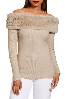 Faux fur off the shoulder ribbed sweater
