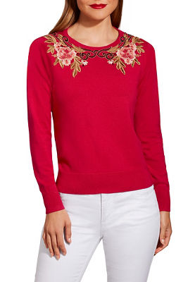 Floral scroll crew neck sweater
