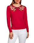 Floral Scroll Crew Neck Sweater Photo