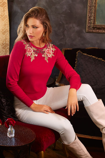 Floral scroll crew neck sweater image