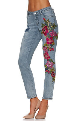 floral mesh slim ankle jean