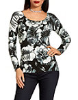 Floral Print Boat Neck Sweater Photo