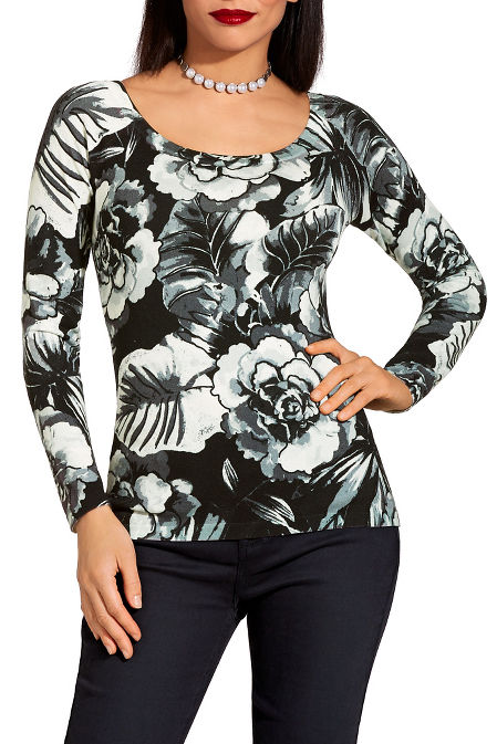 Floral print boat neck sweater image