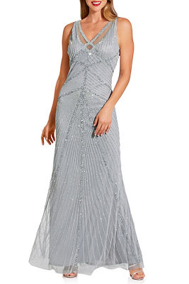 glam beaded strappy gown