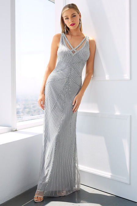 Glam beaded strappy gown image