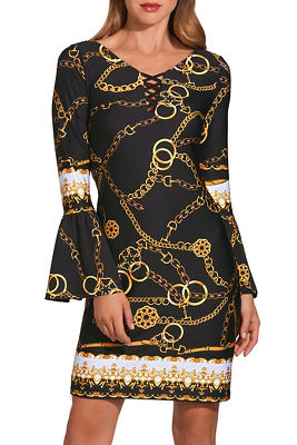Gold chain print lace up dress